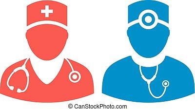 docteur, vecteur, icône