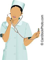 doctorçs, femme, infirmière, sm, blanc