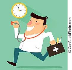 doctor, alrededor, reloj