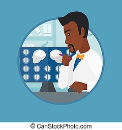 Doctor analyzing MRI scan vector illustration. - An african-...