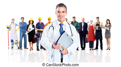 Doctor and a group of workers people. Isolated on white...