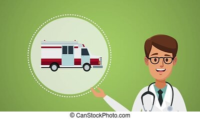Doctor and ambulance HD animation - Doctor and ambulance van...