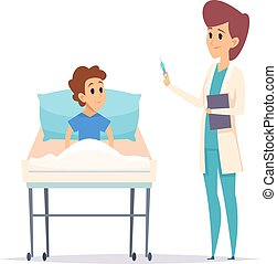 Doctor and boy. Flu virus vaccination. Isolated ill guy in bed and nurse with syringe. Cartoon flat child in hospital with pediatrician vector illustration