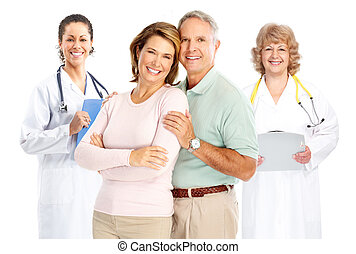 doctor and elderly couple - Smiling medical doctor with ...