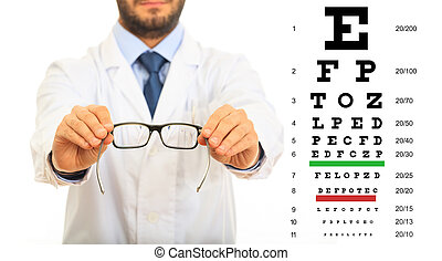 Doctor and eye vision test
