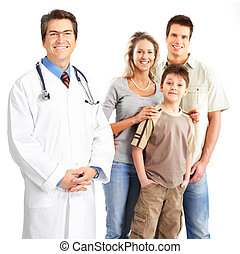 doctor and family - Smiling family medical doctor and young...