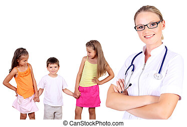 Doctor and family with children