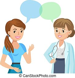 Doctor and girl patient. Woman talking to physician. Vector illustration.