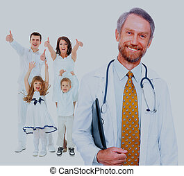 doctor and happy family.