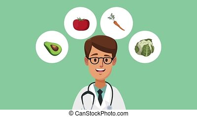 Doctor and healthy food HD animation - Doctor and healthy...