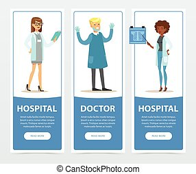 Doctor and hospital banners set, medical staff flat vector element for website or mobile app
