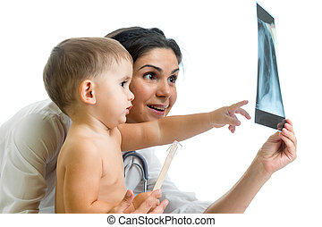 Doctor and kid reviewing X-ray