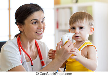 Doctor and kid runny nose