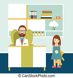 Doctor and little patient in office surgery. Pediatric clinic. Flat cartoon