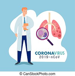 doctor and lungs with ncov 2019