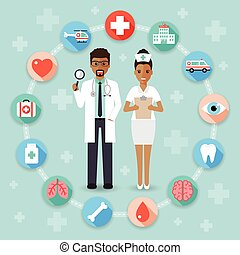 Doctor and medical and hospital icons