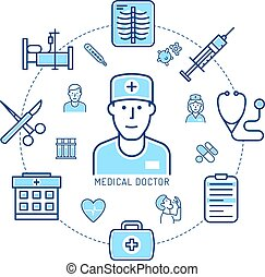 Doctor and medicine - concept of linear icons. Healthcare ...