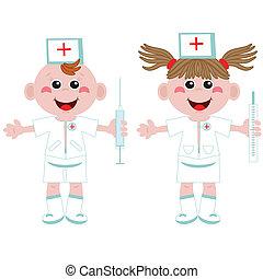 Doctor and nurse ,cartoon.
