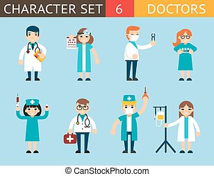 Doctor and Nurse Characters Madical Icon Set Symbol with Accessories on Stylish Background Flat Design Concept Template Vector Illustration