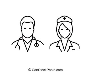 Doctor and nurse icons