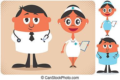 Doctor and Nurse - Illustration of cartoon doctor and nurse ...