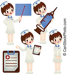 Doctor and nurse in various pose - Vector File EPS10