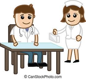Doctor and Nurse - Medical Cartoon