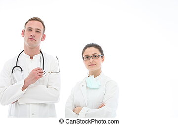 Doctor and nurse on white background