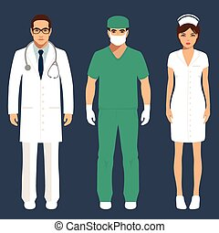 doctor and nurse personnel, hospital staff people, vector ...