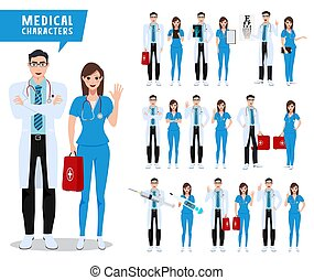 Doctor and nurse vector character set. Male and female medical and health care characters