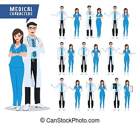 Doctor and nurse vector character set. Medical and health care characters with various poses