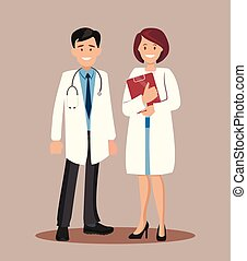 Doctor and nurse. Vector illustration.