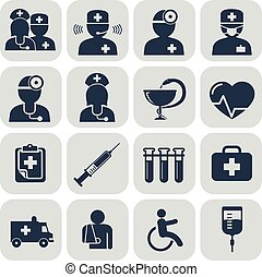Doctor and Nurses icons on grey
