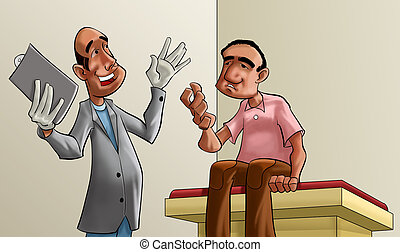Doctor and patient cartoon illustration.