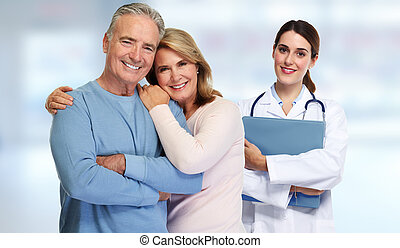 Doctor and patient couple. - Smiling medical doctor with...