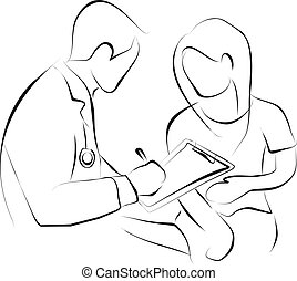 doctor and patient - doctor is writing the medical record ...