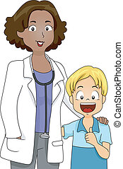 Doctor and Patient - Illustration of a Doctor Standing...