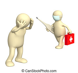Doctor and patient - Patient and doctor with thermometer. ...