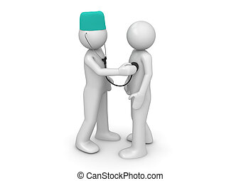 Doctor and patient - 3d isolated characters on white...