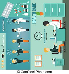 doctor and patient talking in a medical room. Consultation. Medication