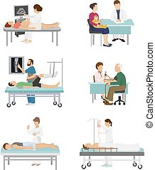 Doctor and patient vector medical healthcare hospital medicine nurse doctoral office in hospital visit in-patient people health care concept illustration
