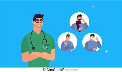 doctor and patients with covid19 symptom ,4k video animated
