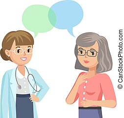Doctor and senior patient. Woman talking to physician. Vector illustration.