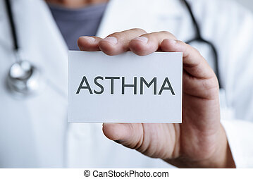 doctor and signboard with text asthma