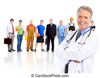 Doctor and workers people. - Medical doctor and a group of...
