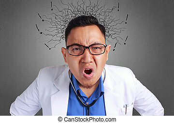 Doctor Angry - A Young Asian portrait rude frustrated upset...