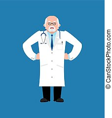 Doctor angry. Physician evil emoji. Vector illustration