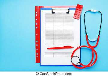 Doctor appointment. Stethoscope, tablets, medical documents on doctors workplace in clinic long blue banner. Concept medicine health care, research, science. Coronovirus Covid-19 test analysis form