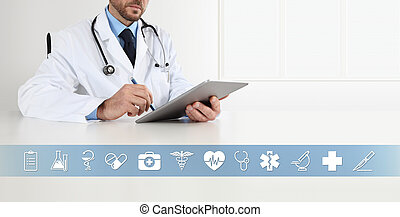 doctor at desk office write on digital tablet, with symbols and medical icons, web banner and copy space template