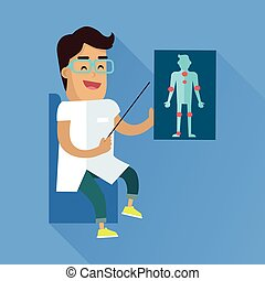 Doctor at Work Vector Flat Style Illustration